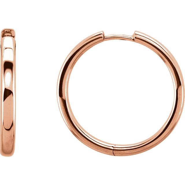 14K Rose 29mm Hinged Hoop Earrings