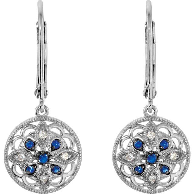 Sterling Silver Sapphire & .07 CTW Diamond Earrings