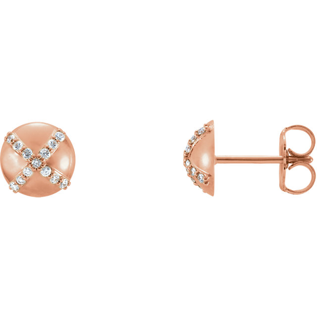 14K Rose 1/8 CTW Diamond Earrings