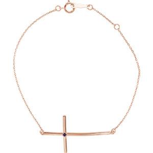 Bracelet, 14K Rose Alexandrite Sideways Cross Bracelet