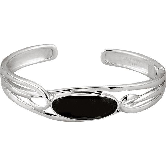 Sterling Silver Onyx Hinged Cuff Bracelet