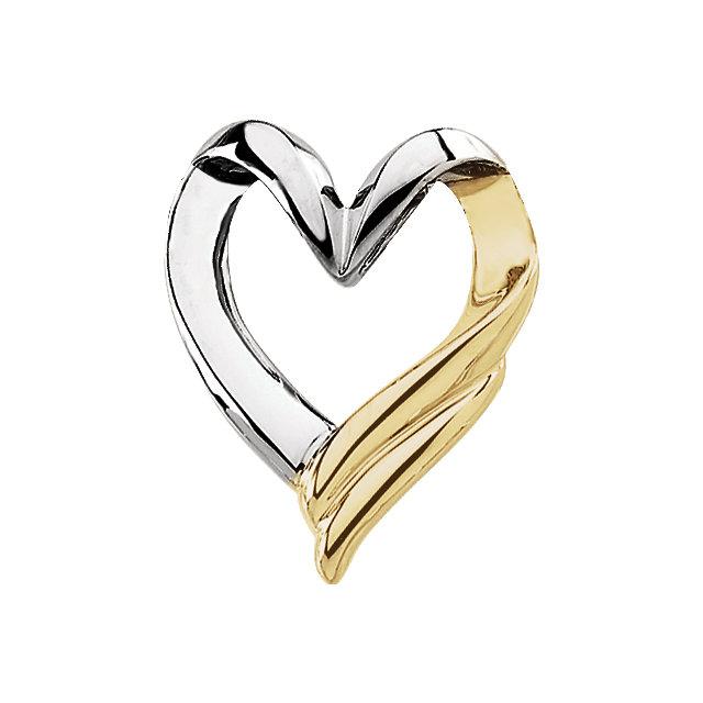14K White & Yellow Heart Chain Slide