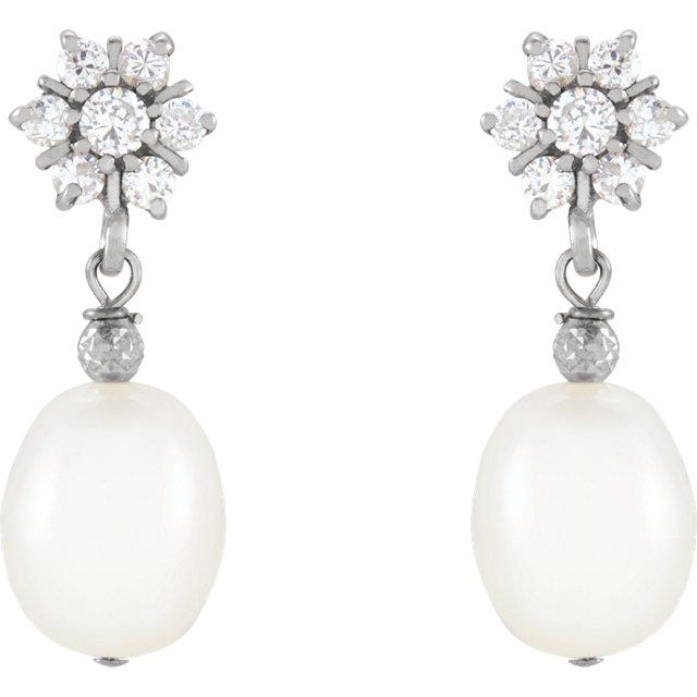 Sterling Silver Freshwater Cultured Pearl & Cubic Zirconia Earrings