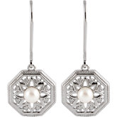 Freshwater Cultured Pearl Granulated Filigree Lever Back Earrings