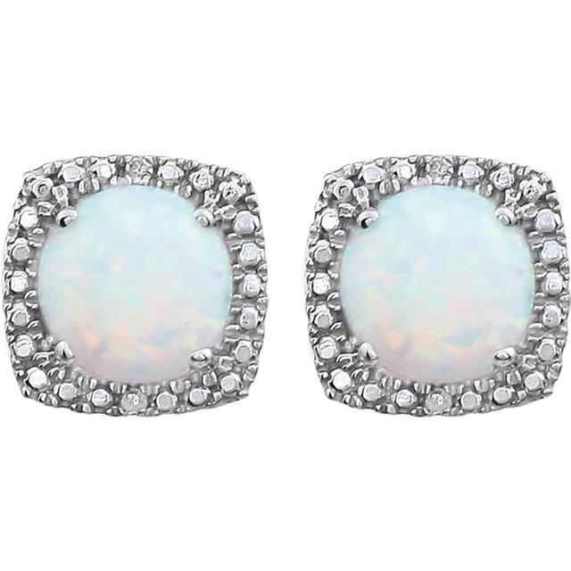 Sterling Silver Created Opal & .015 CTW Diamond Earrings