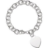 9.75mm Sterling Silver Charm Cable Bracelet with Lightweight Heart