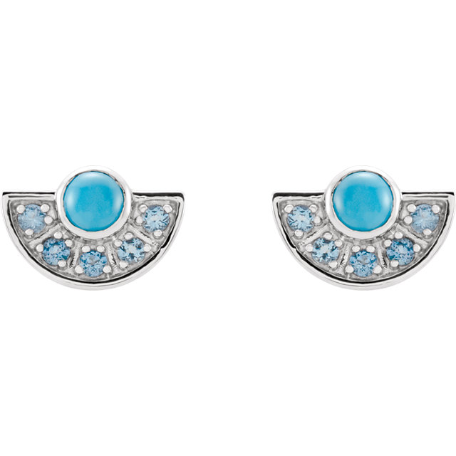 14K White Turquoise & Aquamarine Fan Earrings