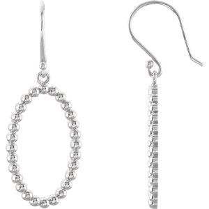 Sterling Silver Oval Beaded Design Earrings