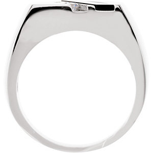 Sterling Silver Men-s Onyx & 1/10 CTW Diamond Ring