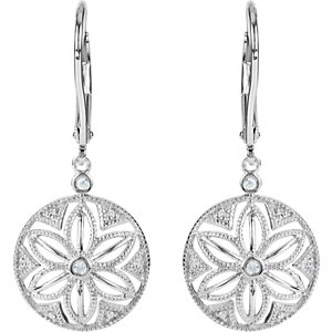 Sterling Silver .08 CTW Diamond Lever Back Earrings