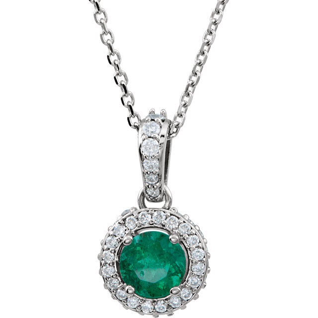 14K White Emerald & 1/4 CTW Diamond 18