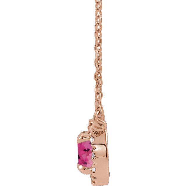 14K Rose Pink Tourmaline & .04 CTW Diamond 16