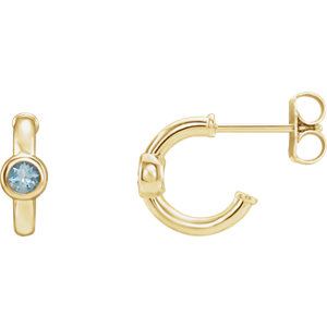 14K Yellow Aquamarine J-Hoop Earrings