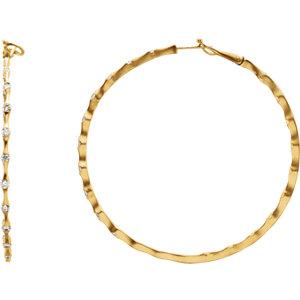 14K Yellow 1 1/2 CTW Diamond Inside/Outside Hoop Earrings