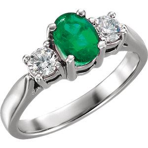 Fashion Rings , Platinum Emerald & 3/8 CTW Diamond Ring
