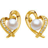 Akoya Cultured Pearl & Diamond Heart Earrings