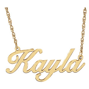 b7146d1d79d91 14K Yellow Gold-Plated Sterling Silver Script Nameplate Necklace ...