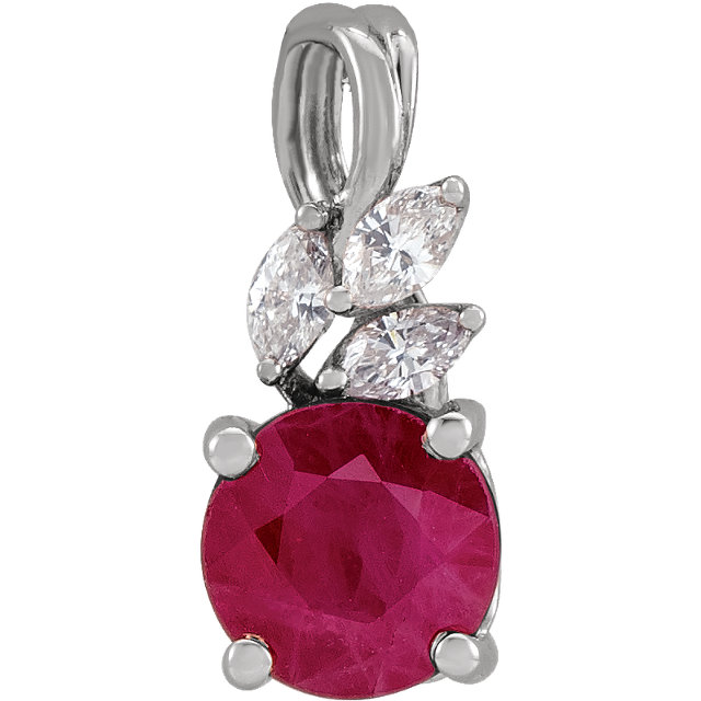14K White Chatham® Created Ruby & 1/10 CTW Diamond Pendant