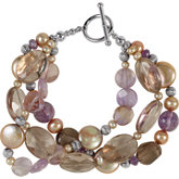 Freshwater Cultured Dyed Chocolate Pearl & Multi-Gemstone Bracelet