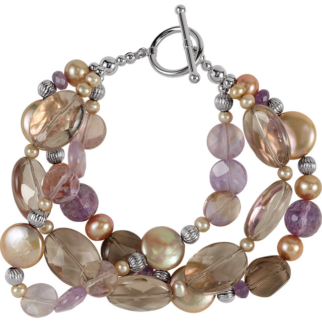 Sterling Silver Freshwater Cultured Dyed Chocolate Pearl & Multi-Gemstone Bracelet