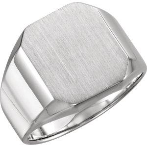 Fashion Rings , 18K Palladium White 16x14mm Octagon Men's Signet Ring