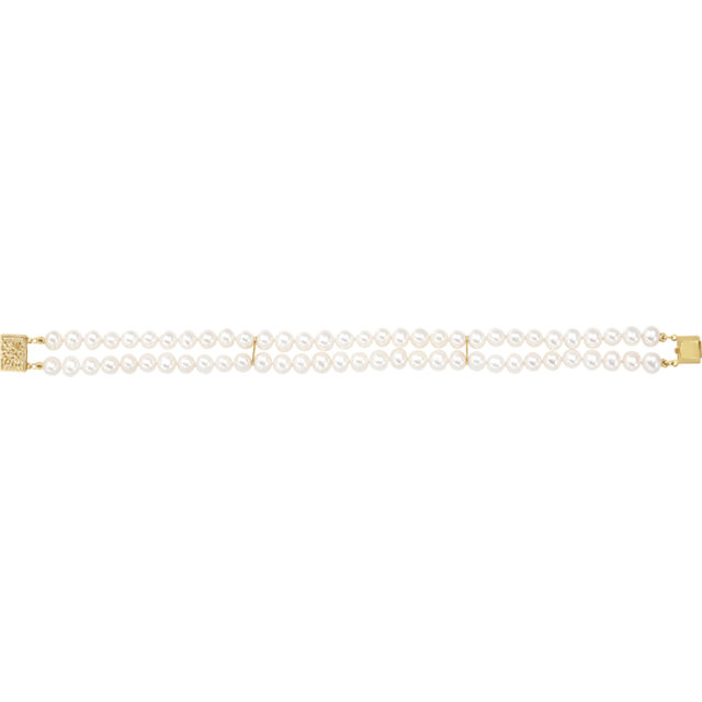 14K Yellow 5-5.5mm Freshwater Cultured Pearl Double Strand 7