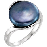 Freeform Coin Pearl Ring