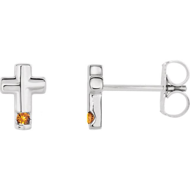 14K White Citrine Cross Earrings
