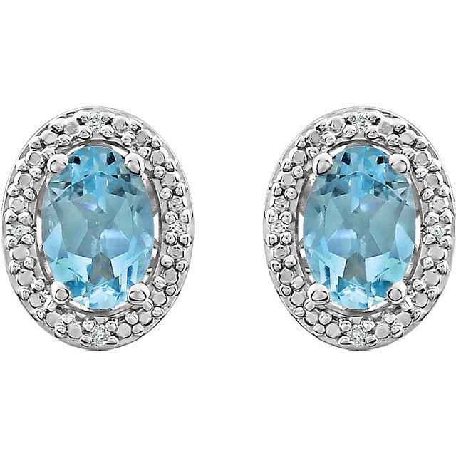 Sterling Silver Sky Blue Topaz & .025 CTW Diamond Earrings