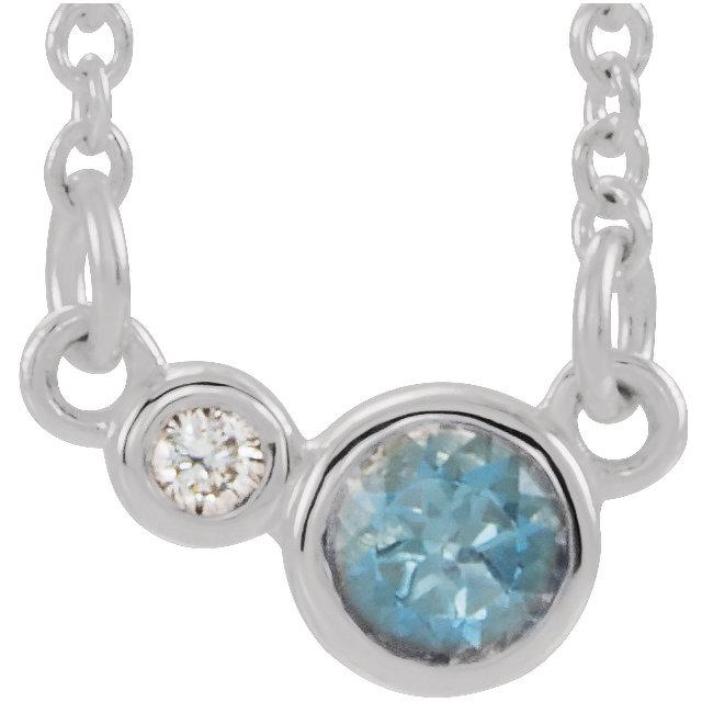 Sterling Silver Aquamarine & .02 CTW Diamond 18