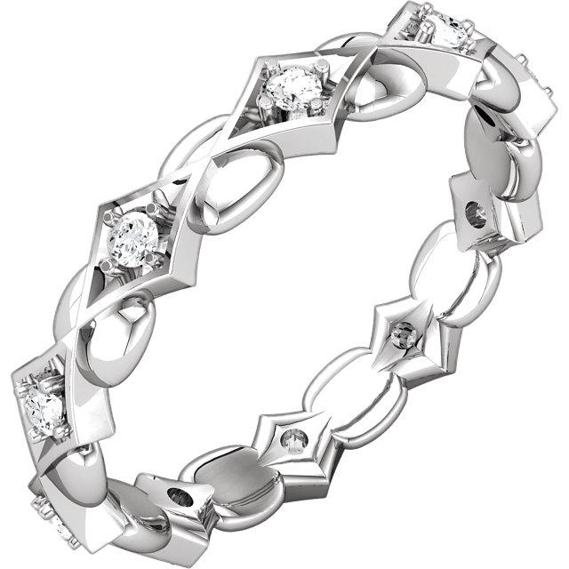 14K White 1/5 CTW Diamond Sculptural-Inspired Eternity Band Size 7