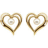 Akoya Cultured Pearl Heart Earrings