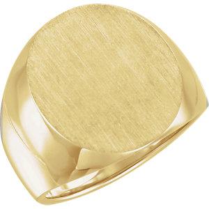 Fashion Rings , 18K Yellow 20x17mm Men's Solid Signet Ring