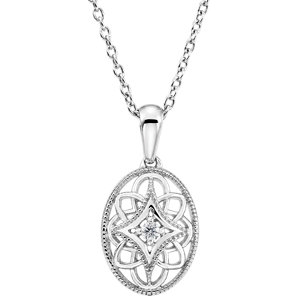 Sterling Silver .03 CT Diamond 18