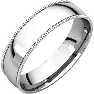 Sterling Silver 5 mm Milgrain Lightweight Comfort-Fit Band