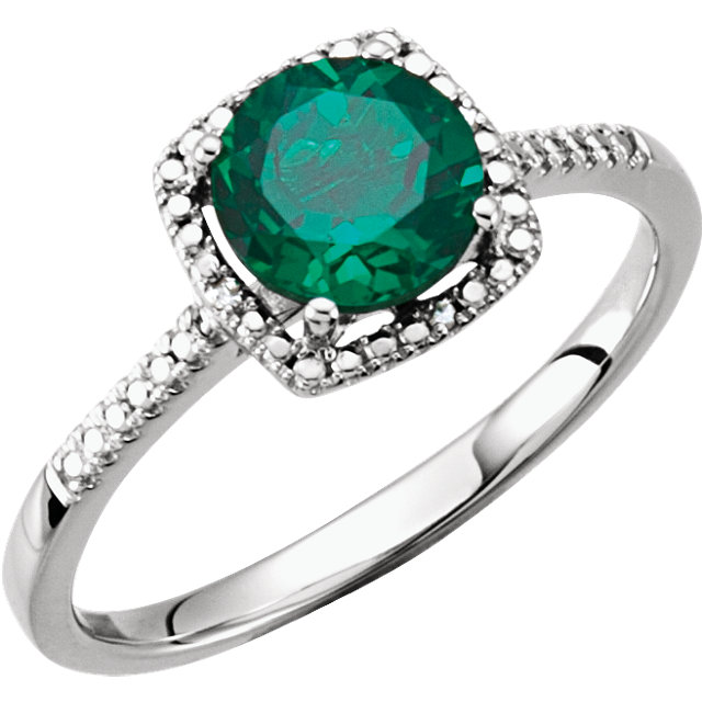 Sterling Silver Lab-Grown Emerald & .01 CTW Diamond Ring
