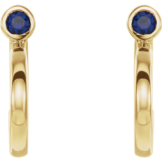 14K Yellow 3 mm Round Blue Sapphire Bezel-Set J-Hoop Earrings