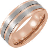 Tungsten Grooved Band with Rose Gold Plating