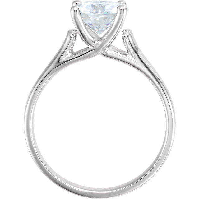 14K White 7.5mm Round Forever One™ Moissanite Solitaire Engagement Ring