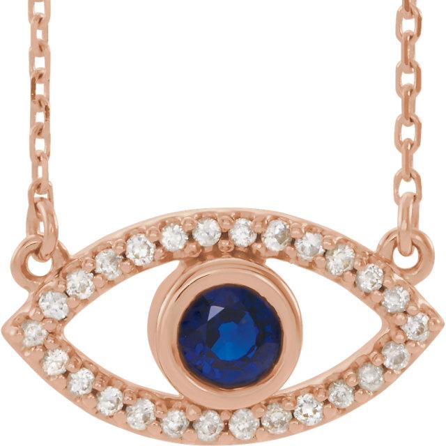 14K Rose Blue Sapphire & White Sapphire Evil Eye 18