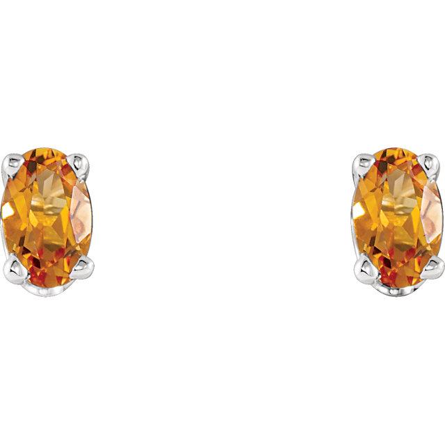 14K White Citrine Earrings