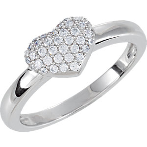 Sterling Silver Cubic Zirconia Pave Heart Ring Size 7