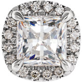 Square 4-Prong Halo-Style Setting for Earring Setting