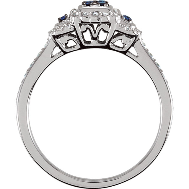 Sterling Silver Blue Sapphire & .06 CTW Diamond Ring