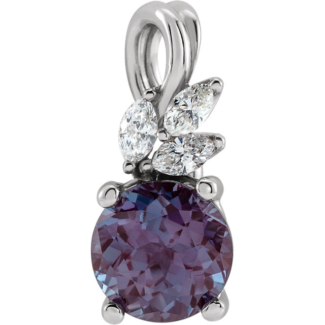 14K White Chatham® Created Alexandrite & 1/10 CTW Diamond Pendant