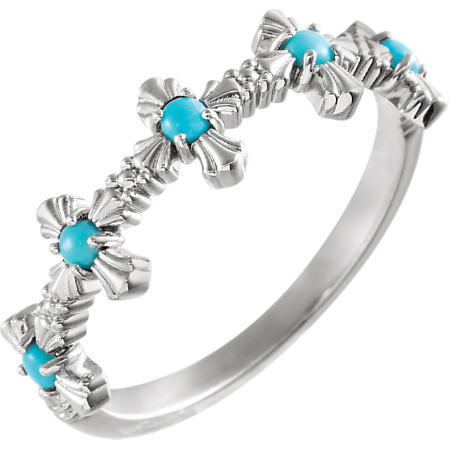 14K White Turquoise Cross Ring
