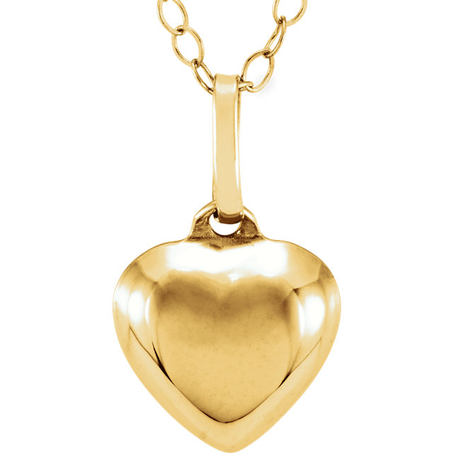 14K Yellow Puffed Heart Youth Pendant