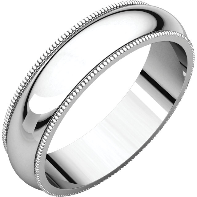 Platinum 5 mm Milgrain Half Round Comfort Fit Band Size 9