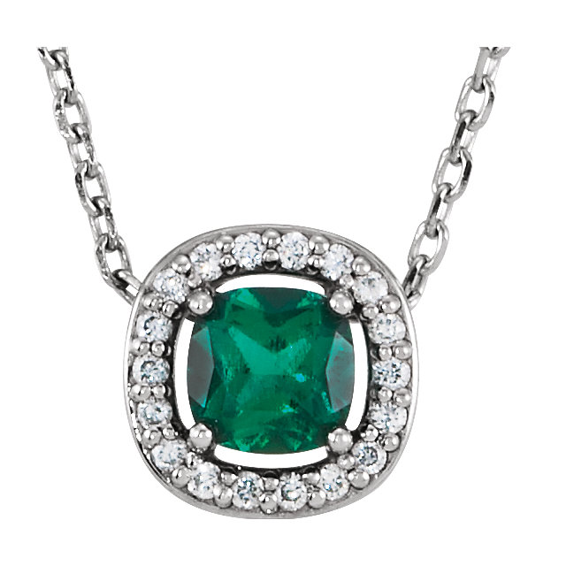 14K White Chatham® Created Emerald & .04 CTW Diamond 16