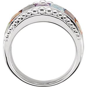 Multi-Gemstone Granulated Design Ring